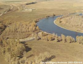 Aerial View of Bow River at Fish Creek, Calgary, Alberta
