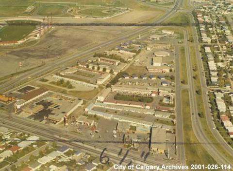 aerial view of motel village and mcmahon stadium calgary. Black Bedroom Furniture Sets. Home Design Ideas