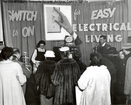 "Woman giving demonstration at ""Switch is On for Easy Electrical Living"" display booth."