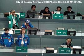 Speed Skating, Scorers' Box at Olympic Oval, Calgary, Alberta