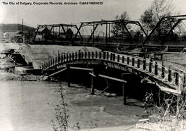 Close view of the construction of the concrete Mission Bridge.