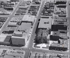 Aerial view of City Hall and 7th Avenue SE