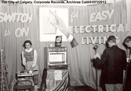 "Woman giving demonstration at ""Easy Electrical Living"" display booth."