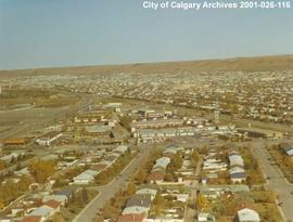 Aerial View of Motel Village and McMahon Stadium, Calgary, Alberta