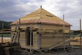 Fort Edmonton Park - Palisades - Bastion A - view of bastion being shingled at Fort - upper floor...