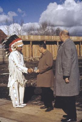 Fort Edmonton Park - official opening - Hi Pawson, Sam Donaghey greeting chief