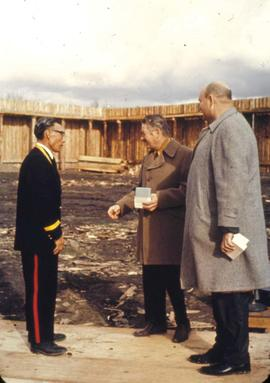 Fort Edmonton Park - official opening - Hi Pawson, Sam Donaghey greeting First Nations member in ...