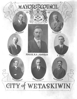 1919 Wetaskiwin City Council, collage of portraits, Wetaskiwin, Alberta.