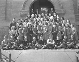 Wetaskiwin High School grade ten class on the steps of the Alexandra School building, Wetaskiwin, Alberta.