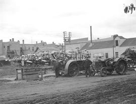 """Scona Creamery,"" view of separators and tractors, Wetaskiwin, Alberta."