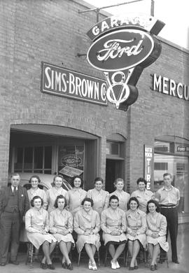 Ford Graduating Class at the Sims and Brown Ford Garage, Wetaskiwin, Alberta.
