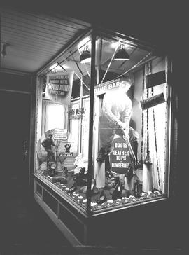 "Aboussafy & Sons window display for ""Blue Bar"" boots, Wetaskiwin, Alberta."