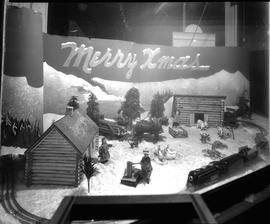 Christmas window display at Nestor Beguin's Cash Store, Wetaskiwin, Alberta.