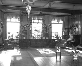 Reception room of the Driard Hotel, Wetaskiwin, Alberta,  decorated for the visit of Governor-Gen...