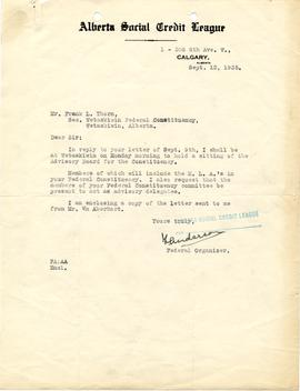 Correspondence from F. Anderson, Federal Organizer to Frank Thorn, Secretary of the Wetaskiwin Fe...
