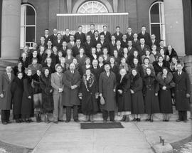 Alberta Baptist Bible Academy (A.B.B.A.) standing on the steps of the Court House, Wetaskiwin, Al...