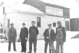 Group in front of W. Wilson Building, Edson, Alberta.