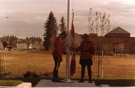 Raising the flag at the new Edson RCMP detatchment.
