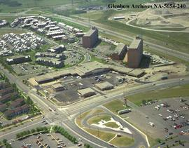 Aerial view of  London Towne Square shopping centre in northeast Calgary, Alberta.