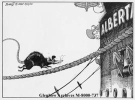 "[Premier Peter Lougheed watches as the ""separatist"" rat boards the Alberta ship.]"
