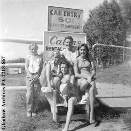 """The four girls and me"", [probably in Saskatchewan]."