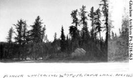 """Pioneer contractors camp, McTavish Lake"", Saskatchewan."