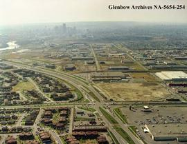Aerial view of  Memorial Village and Firestone plant, Calgary, Alberta.