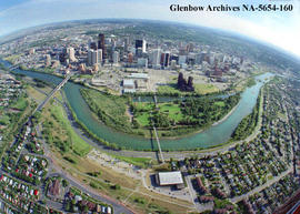 Aerial view of  Prince's Island and downtown city centre, Calgary, Alberta.