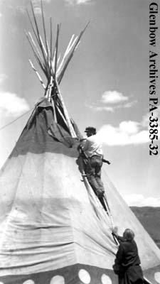 Putting up a tipi on the Blackfoot (Siksika) reserve, Alberta.