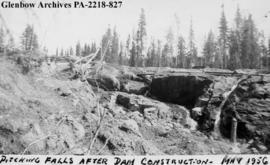"""Pitching Falls after dam construction"", Saskatchewan."