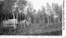 """Pioneer Contractors Camp, Upper Peak Lake"", Saskatchewan."