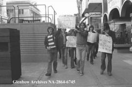 Students protest War Measures Act, Calgary, Alberta.