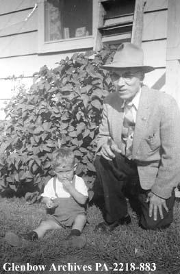 George Sanregret with his grandson, Kevin, in Edmonton, Alberta.