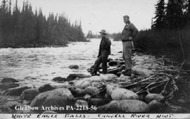 Malcolm Norris amd Bert Wagonitz at White Eagle Falls on the Camsell River, Northwest Territiories.