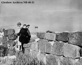Tourists gazing at Hudson Bay from the battlements of Fort Prince of Wales, a Hudson's Bay C...