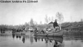 Prospector's School parties in canoes, on the Sucker River, Saskatchewan.