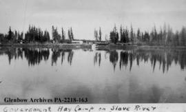 Government hay camp on the Slave River, Northwest Territories.
