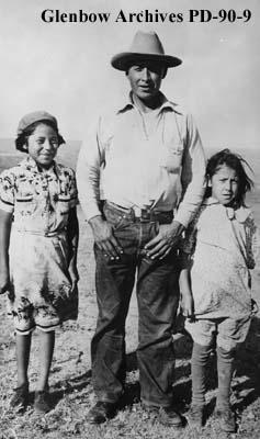 Bob Sorrel Horse and daughters, Marjorie and Florence?, Blood reserve, Alberta.