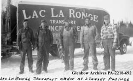 """Lac la Ronge Transport crew at Stanley Portage"", Saskatchewan."