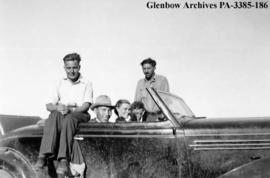 Anthropologists and interpreter on the Blackfoot (Siksika) reserve, Alberta.