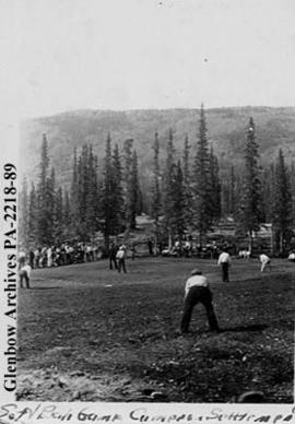 Softball game, Cameron settlement, Great Bear Lake, Northwest Territories.