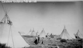 Ojibwa tipis at Long Lake, Ontario.