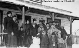 Philip H. Godsell and First Nations at Hudson's Bay Company (HBC) post, Long Lake, Ontario.