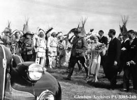 Visit of King George VI and Queen Elizabeth to the Blackfoot (Siksika) reserve, Alberta.