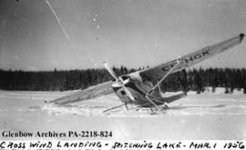 """Cross wind landing, Pitching Lake"", Saskatchewan."