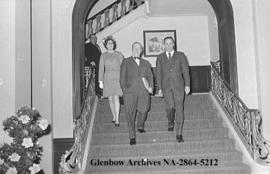 Former Prime Minister Lester B. Pearson meets Mrs. E.M Bredin of the Calgary Women's Canadian Clu...