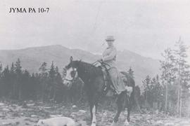 Mrs. F. J. George on horseback in Fitzhugh, Jasper National Park, Alberta.