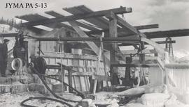 North abutment of the Athabasca Bridge during construction, Jasper National Park, Alberta.