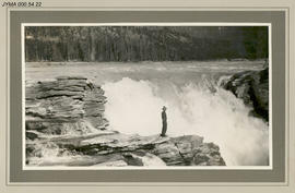 Man [Abe Reimer] overlooking Athabasca Falls.