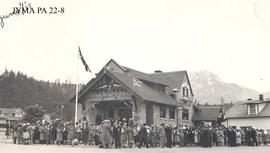 The Imperial Bank of Commerce decorated for the Royal Visit, Jasper, Alberta.